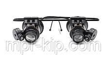 Лупа-окуляри бінокулярні 20х (раб. відстань: 1-2см, раб. поле: 1см2) з підсвічуванням Magnifier 9892-II (FY-815)