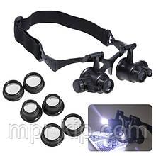 Лупа-окуляри бінокулярні 9892GJ (10x/15x/20x/25x) з LED підсвічуванням