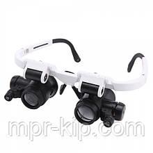 Лупа-окуляри бінокулярні NO.9892H-3 (6x/25x) з LED підсвічуванням