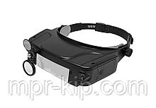 Бінокулярна налобна лупа Magnifier MG81007-С (1.5 х, 3.0 х, 9.5 х, 11.0 х) з регульованою підсвічуванням
