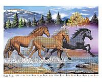 """Схема для вышивки бисером лошади """"В горах"""", схема под бисер А3"""
