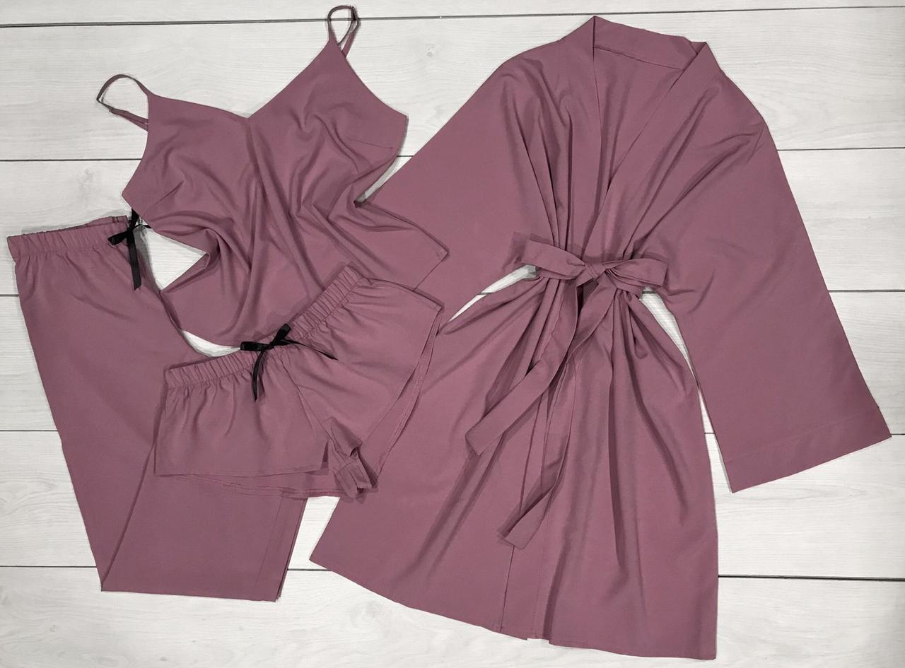 Лілова піжама Майка + Шорти + штани в комплекті з халатом
