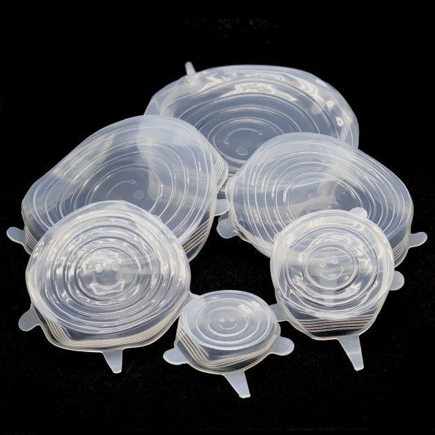 Набор силиконовых прозрачных многоразовых крышек для хранения продуктов 6 штук разного размера