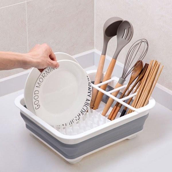 Силиконовая складная сушилка для посуды оргагайзер кухонная сушка