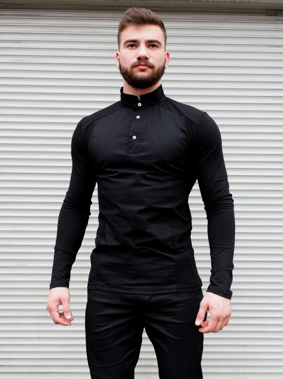 Сорочка чоловіча чорна комір стійка. Базова чоловіча сорочка чорного кольору.