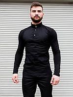 Сорочка чоловіча чорна комір стійка. Базова чоловіча сорочка чорного кольору., фото 1