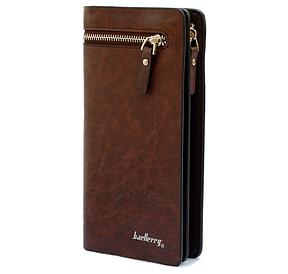 Чоловічий клатч гаманець портмоне Baellerry 618 Brown 2 відділення для купюр