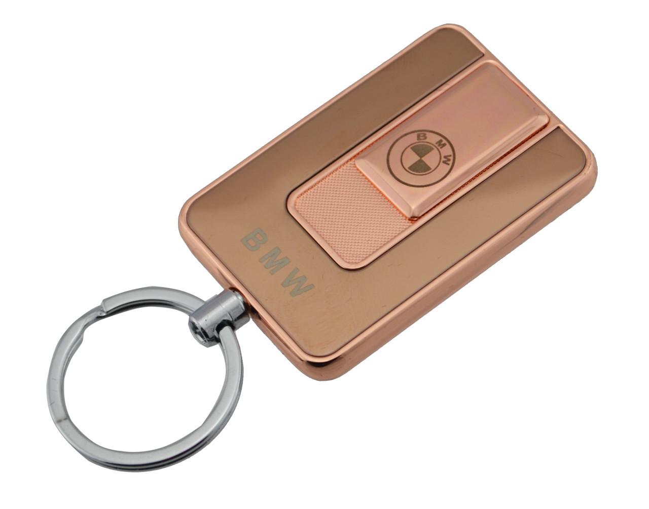 Електроімпульсна запальничка USB 811 BMW блакитного і золотистого кольору в комплекті шнур для зарядки ЮСБ запальничка