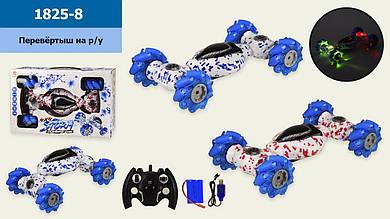Трюковая машина аккум.р|у 1825-8 с ролик.колесами,2 цвета,свет,звук,в кор.  40*10.5*25 см р-р