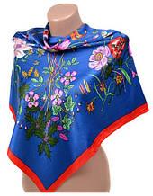 Удивительный шелковый женский платок размером 90*90 20492-D3 (синий)