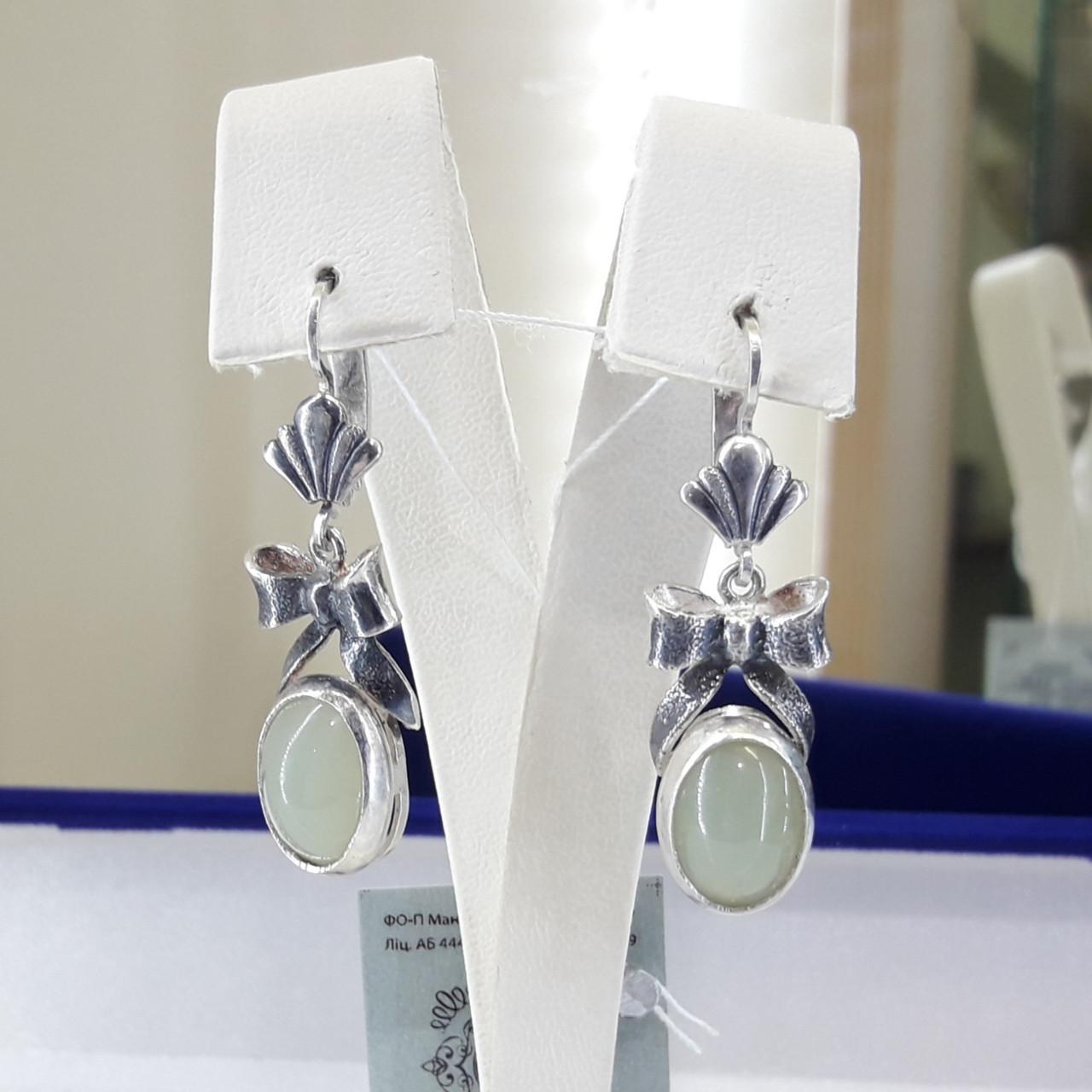 Класичні срібні сережки з нефритом