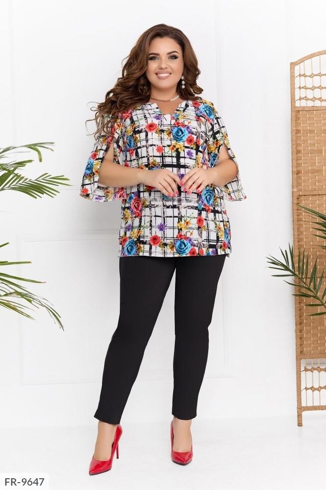 Стильная блуза женская повседневная натуральная с рукавом три четверти больших размеров р-ры 50-60 арт. 0363