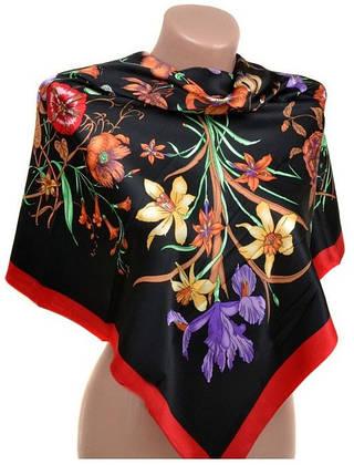 Элегантный женский шелковый платок размером 90*90 20492-D5 (черный)