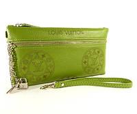 Клатч - кошелек женский натуральная кожа салатный Louis Vuitton, фото 1