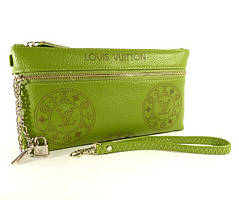 Клатч - кошелек женский натуральная кожа салатный Louis Vuitton