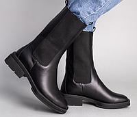 Ботинки на резинке черные кожаные на низком ходу