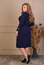 Ошатне синє плаття з гіпюром батал, фото 3
