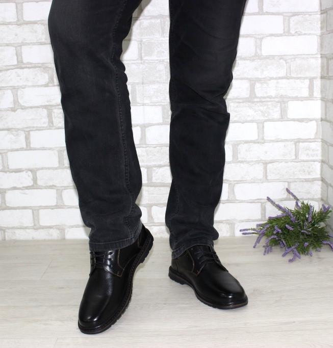 Мужские туфли классические черного цвета на шнуровке  большого размера 46-49