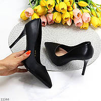 Люксовые черные женские туфли лодочки на шпильке классика