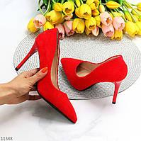 Люксовые яркие красные замшевые женские туфли лодочки на шпильке классика