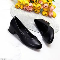 Элегантные женственные черные женские туфли на невысоком каблучке 39-25,5см