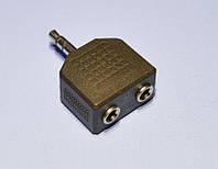 Переходник штекер jack-3,5 стерео - 2 гнезда jack-3,5 стерео  ZLA0293