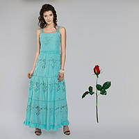 Платье - сарафан  пол из прошвы IN 15054 Бирюза