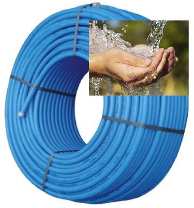 Труба полиэтиленовая 32 мм синяя фтор сырьё 6 атм Стенка 2,4 мм VorsklaPlast , фото 2