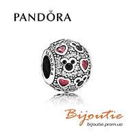 Pandora шарм DISNEY Mickey&Hearts 791457CZ серебро 925 Пандора оригинал