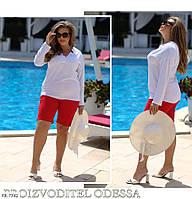 Стильная женская блузка легкая с длинным рукавом прямая деловой стиль большие размеры батал р-ры 50-60 арт.831, фото 1