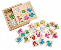 Мемо (подводный мир), деревянная игра найди пару. Bino (84168)