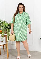 Женское зеленое платье-рубашка в клетку