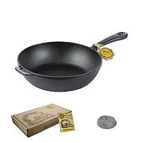 Сковорода чугунная литая 24*6 см круглая  без крышки