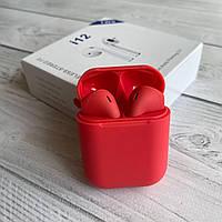 Наушники беспроводные i12 tws красные с микрофоном блютуз наушники