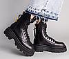 Ботинки демисезонные женские черные кожаные с замком сзади