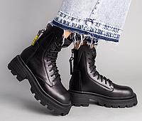 Ботинки демисезонные женские черные кожаные с замком сзади, фото 1