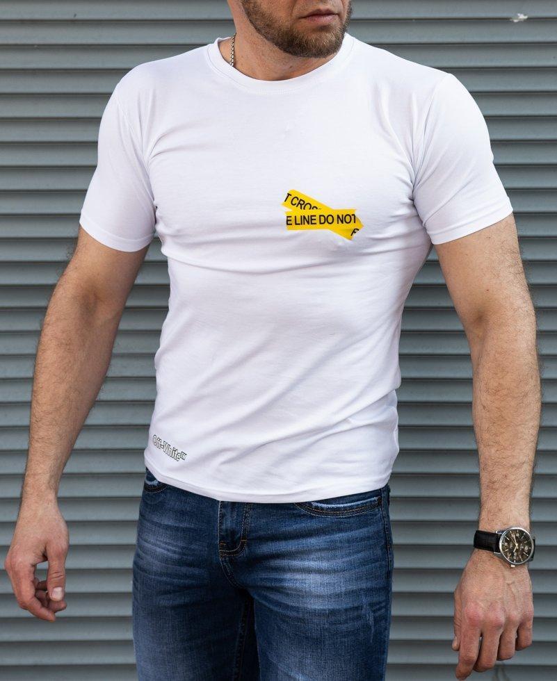 Біла чоловіча футболка Off White принт
