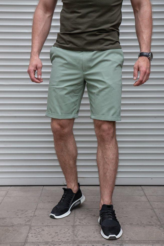 Зелені чоловічі шорти чінос коттон