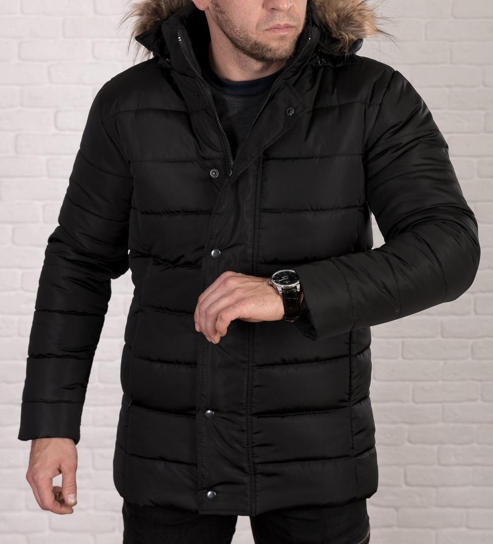 Зимова чоловіча куртка з відстібними хутряним капюшоном, на синтепоні.