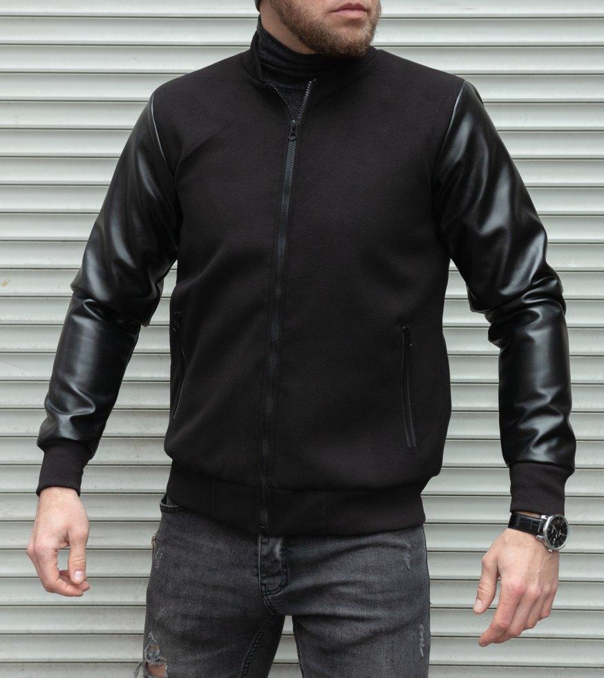 Чоловіча куртка-бомбер з кашеміру з шкіряними рукавами