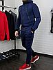 Теплий чоловічий спортивний костюм синього кольору з капюшоном, фото 4