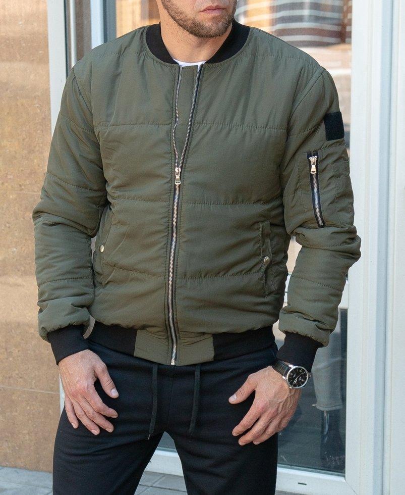 Чоловіча демісезонна куртка-бомбер кольору хакі