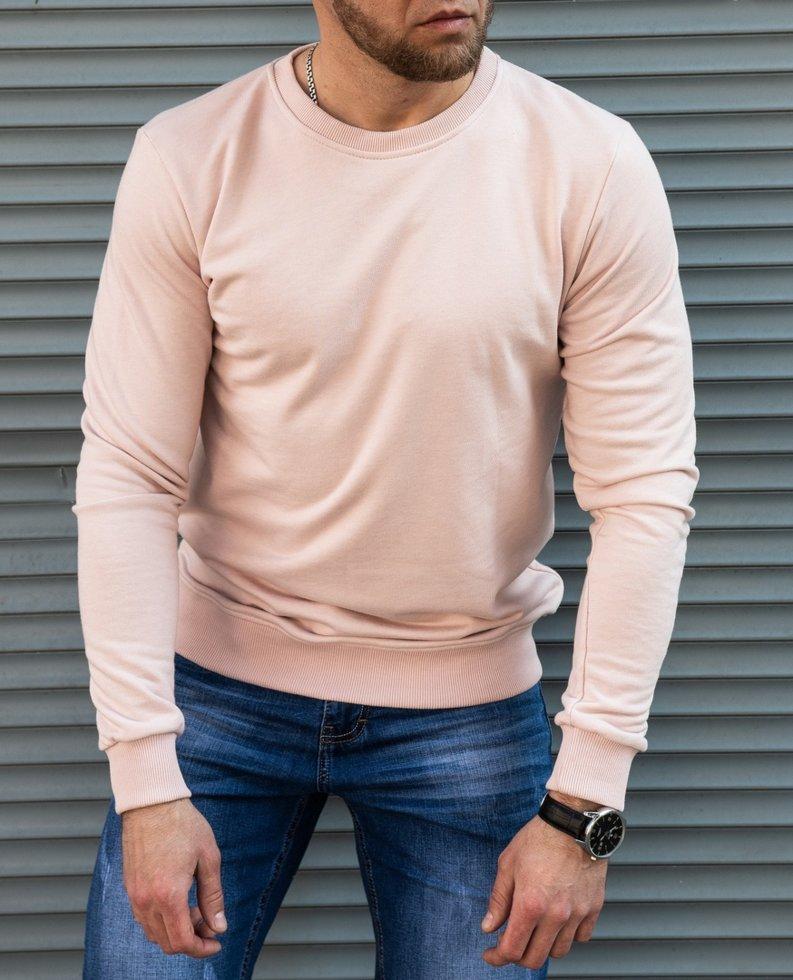"""Мужская розовоая толстовка пуловер из качественного трикотажа """"петля"""""""