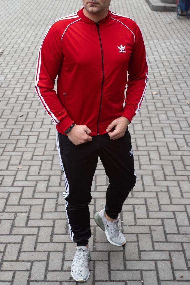 Мужской спортивный костюм adidas красный трикотаж лакоста