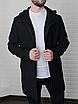 Мужское стильное пальто из кашемира с капюшоном чёрное , без утеплителя, фото 2