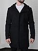 Мужское стильное пальто из кашемира с капюшоном чёрное , без утеплителя, фото 3