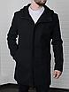 Мужское стильное пальто из кашемира с капюшоном чёрное , без утеплителя, фото 4