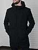 Мужское стильное пальто из кашемира с капюшоном чёрное , без утеплителя, фото 5
