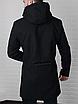 Мужское стильное пальто из кашемира с капюшоном чёрное , без утеплителя, фото 6
