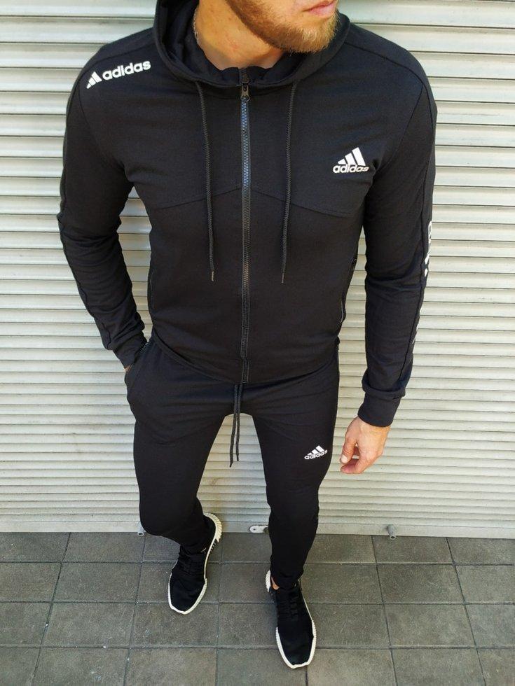 Чоловічий спортивний костюм Adidas на манжетах чорний
